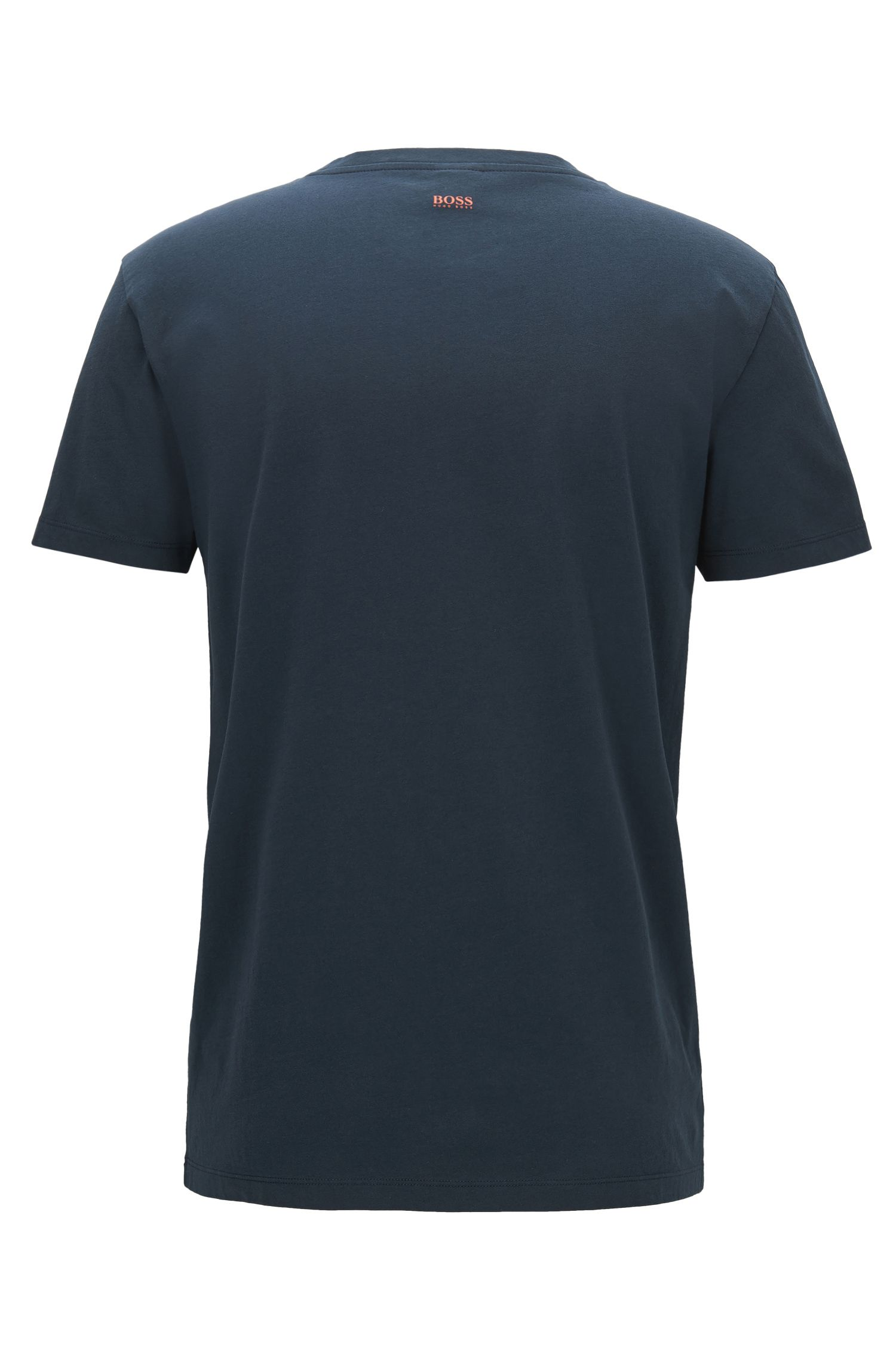 Regular-fit graphic-print T-shirt in washed cotton jersey