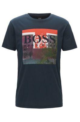 T-shirt regular fit con stampa grafica in jersey di cotone lavato, Blu scuro