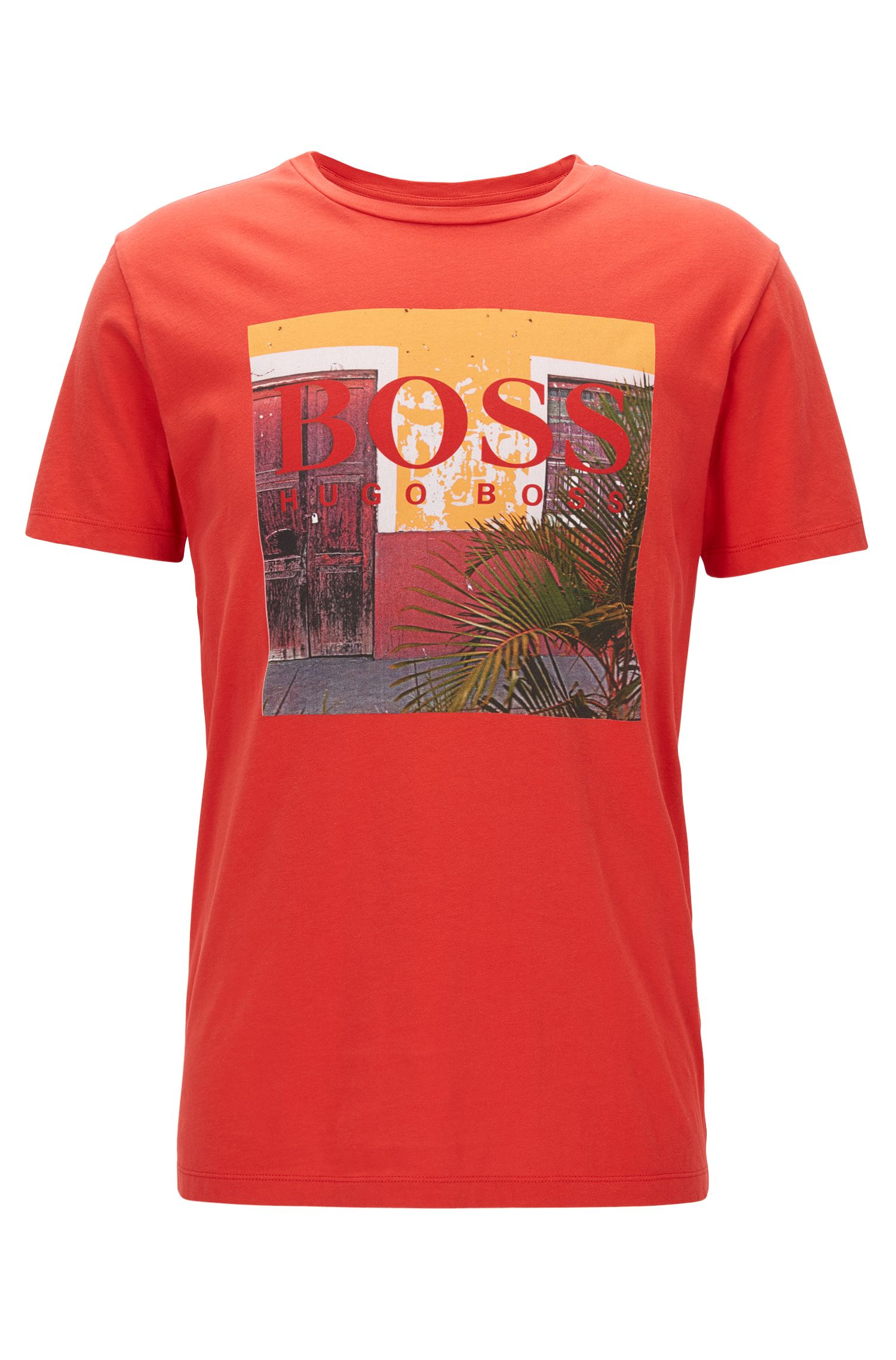 Regular-fit graphic-print T-shirt in washed cotton jersey, Red
