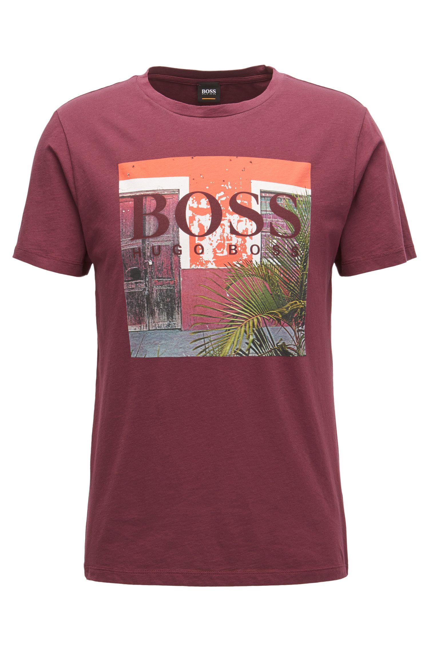 Camiseta regular fit con estampado gráfico en punto de algodón con lavado
