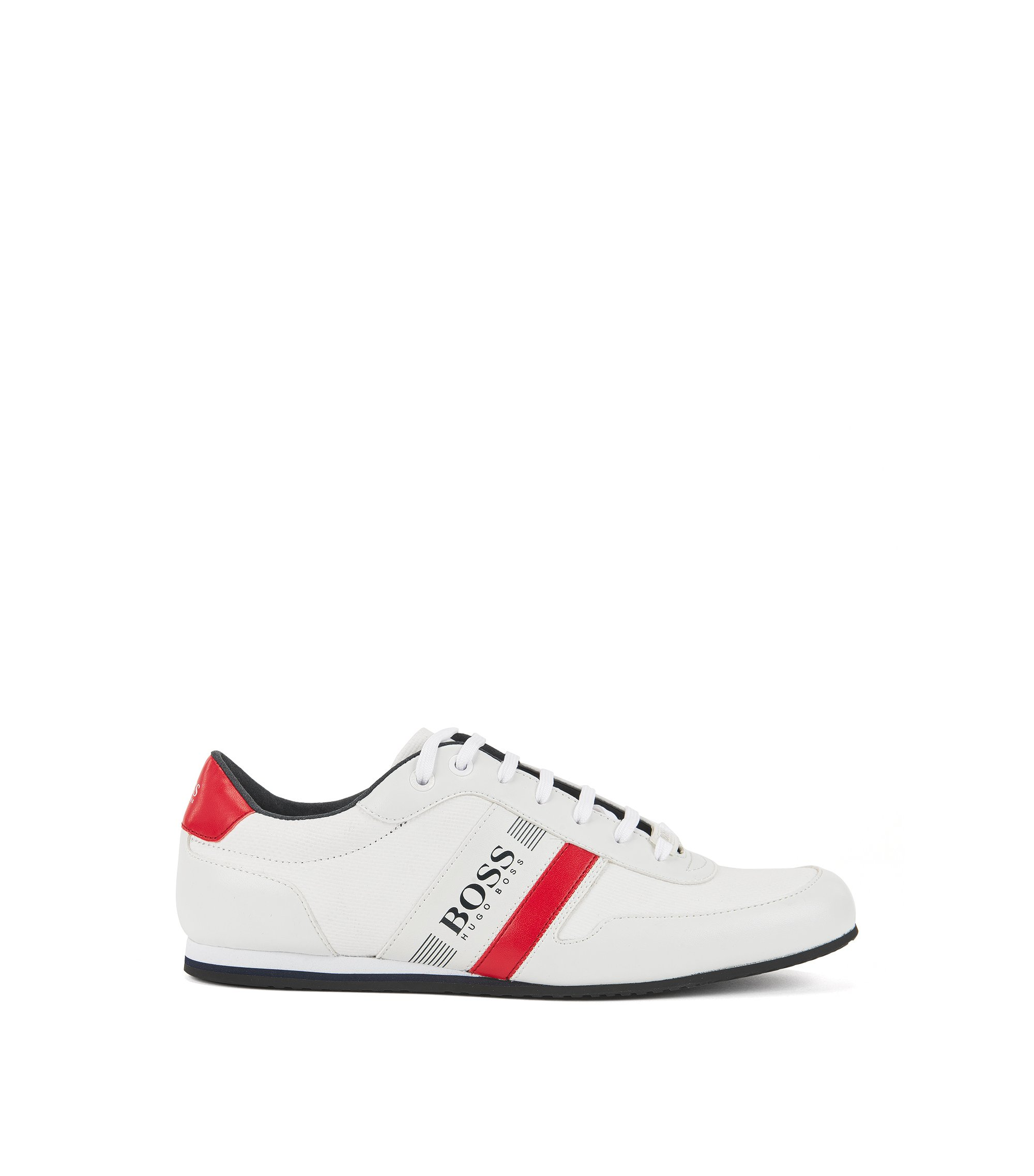 Ultra-lightweight low-top trainers in coated canvas, White
