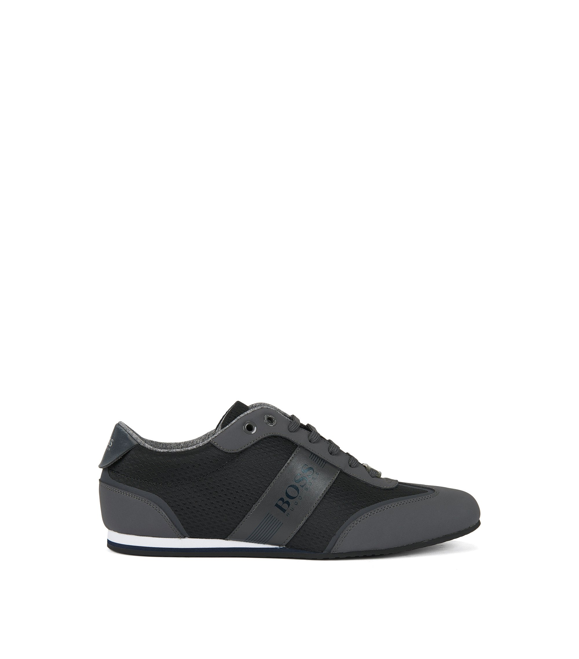 Low-top trainers in nylon with faux-nubuck wingtip detail, Dark Grey