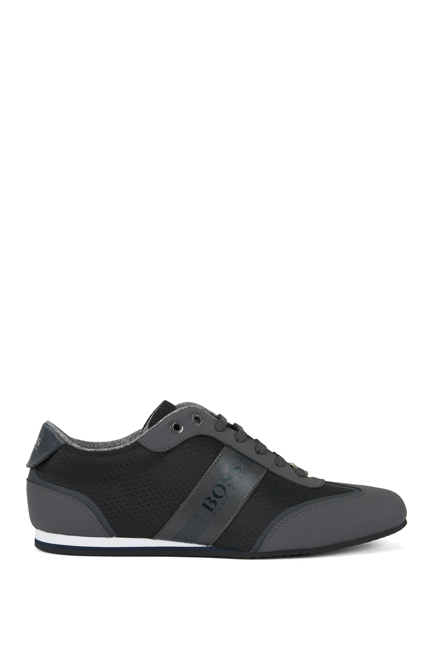 Low-top trainers in nylon with faux-nubuck wingtip detail