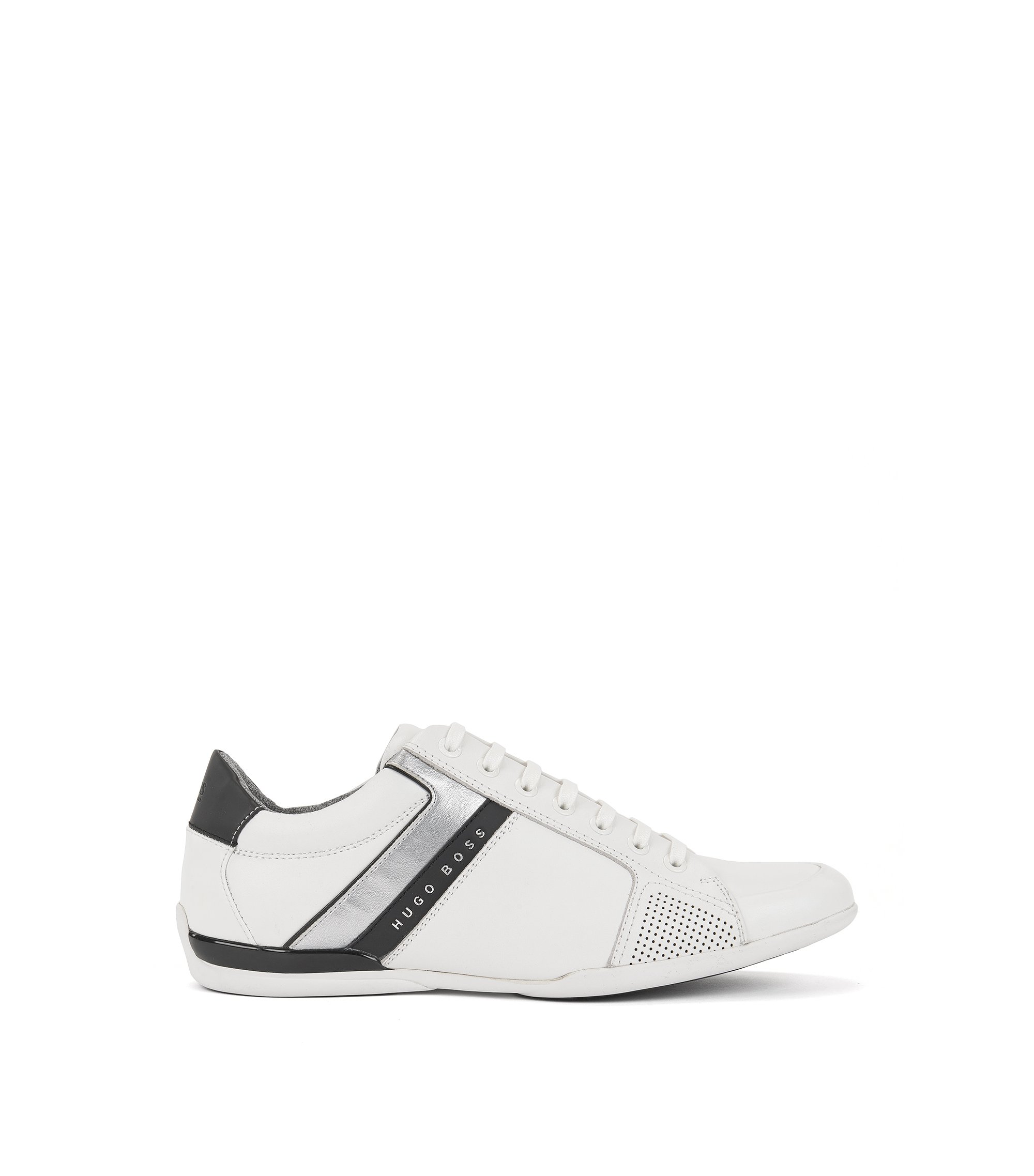 Sneakers low-top in pelle nappa, Bianco