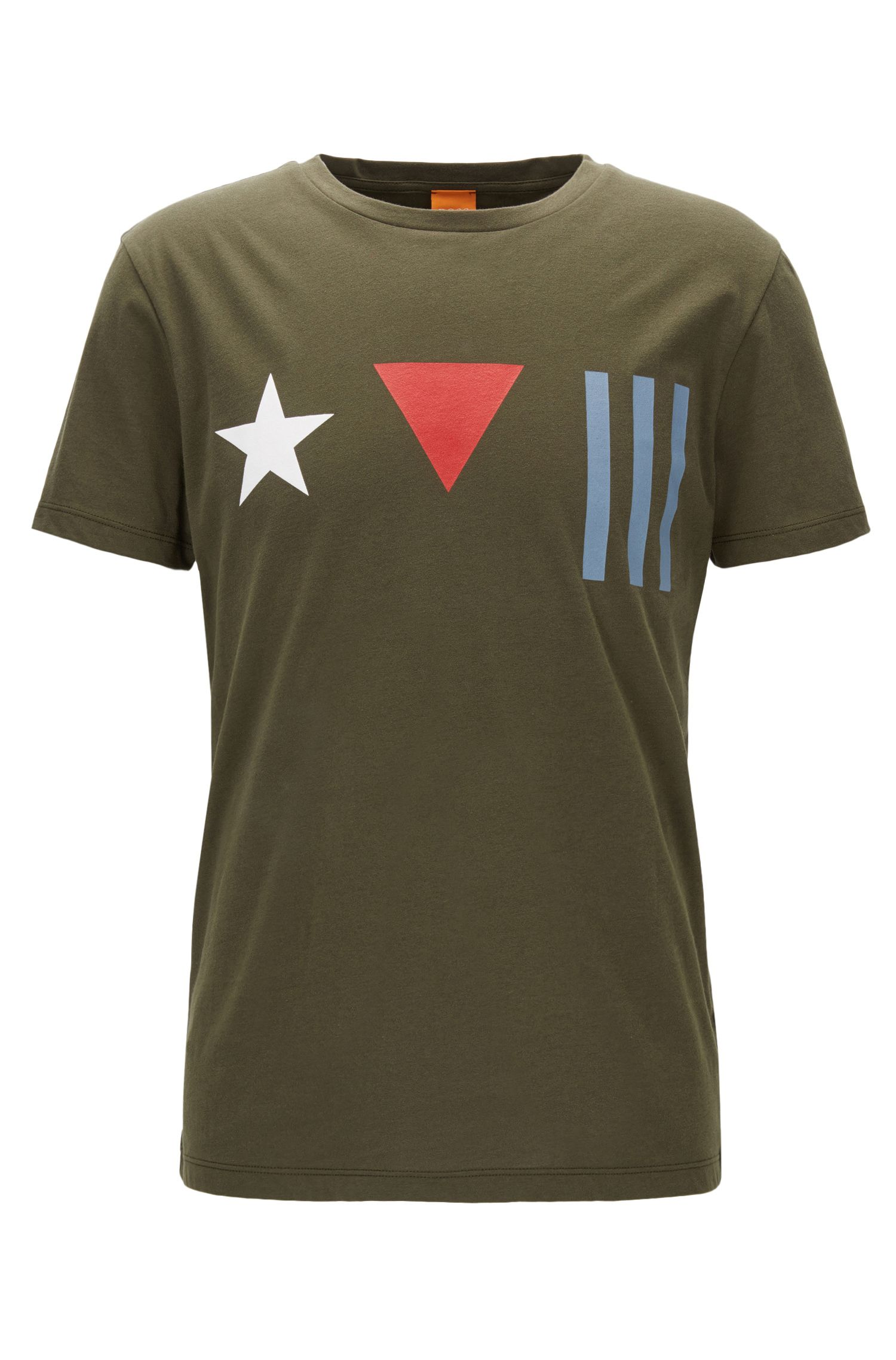 Regular-fit cotton T-shirt with deconstructed flag print
