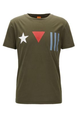 T-shirt regular fit in cotone con stampa con bandiera destrutturata, Verde scuro