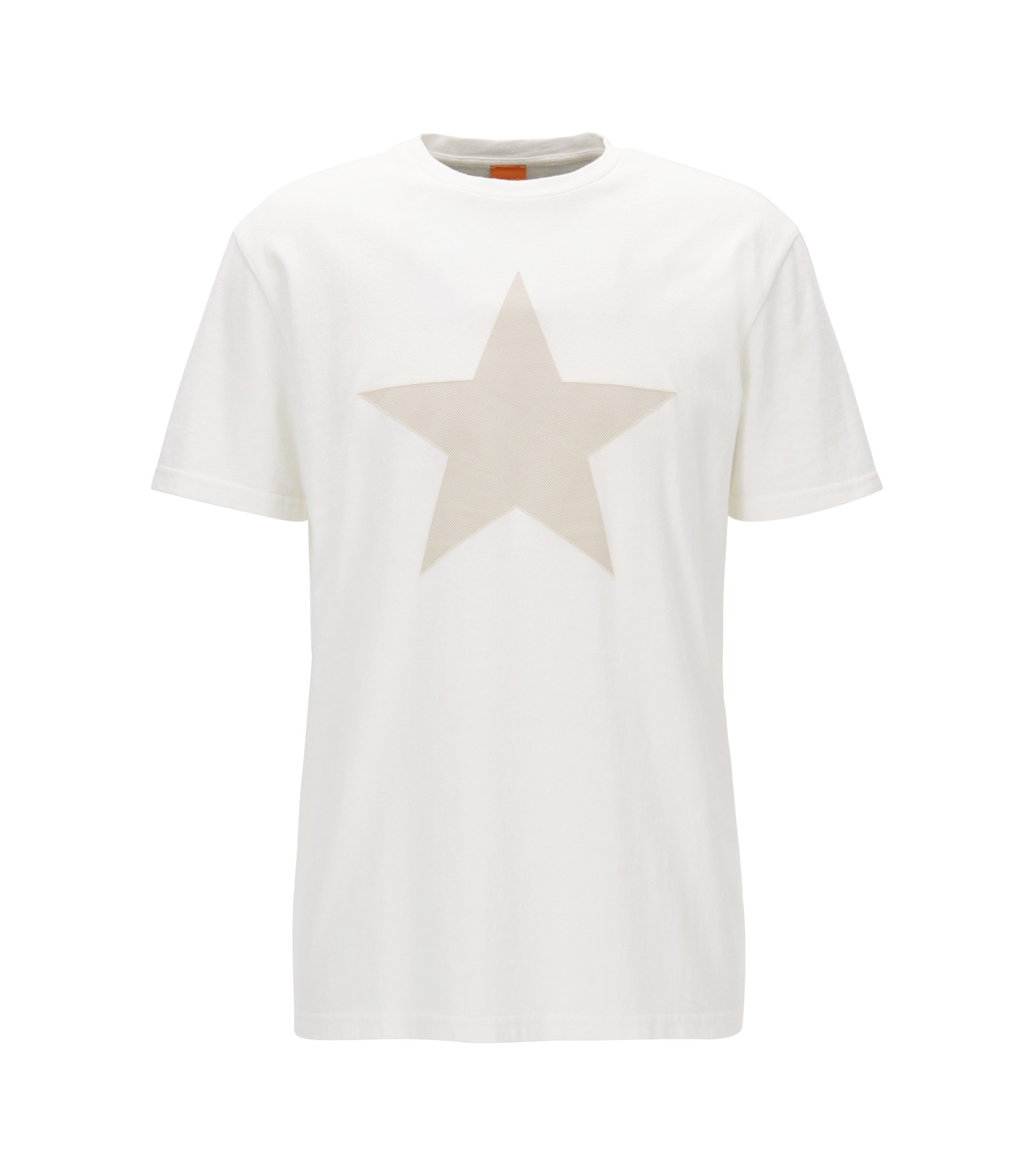 Relaxed-fit cotton T-shirt with applied star , Natural