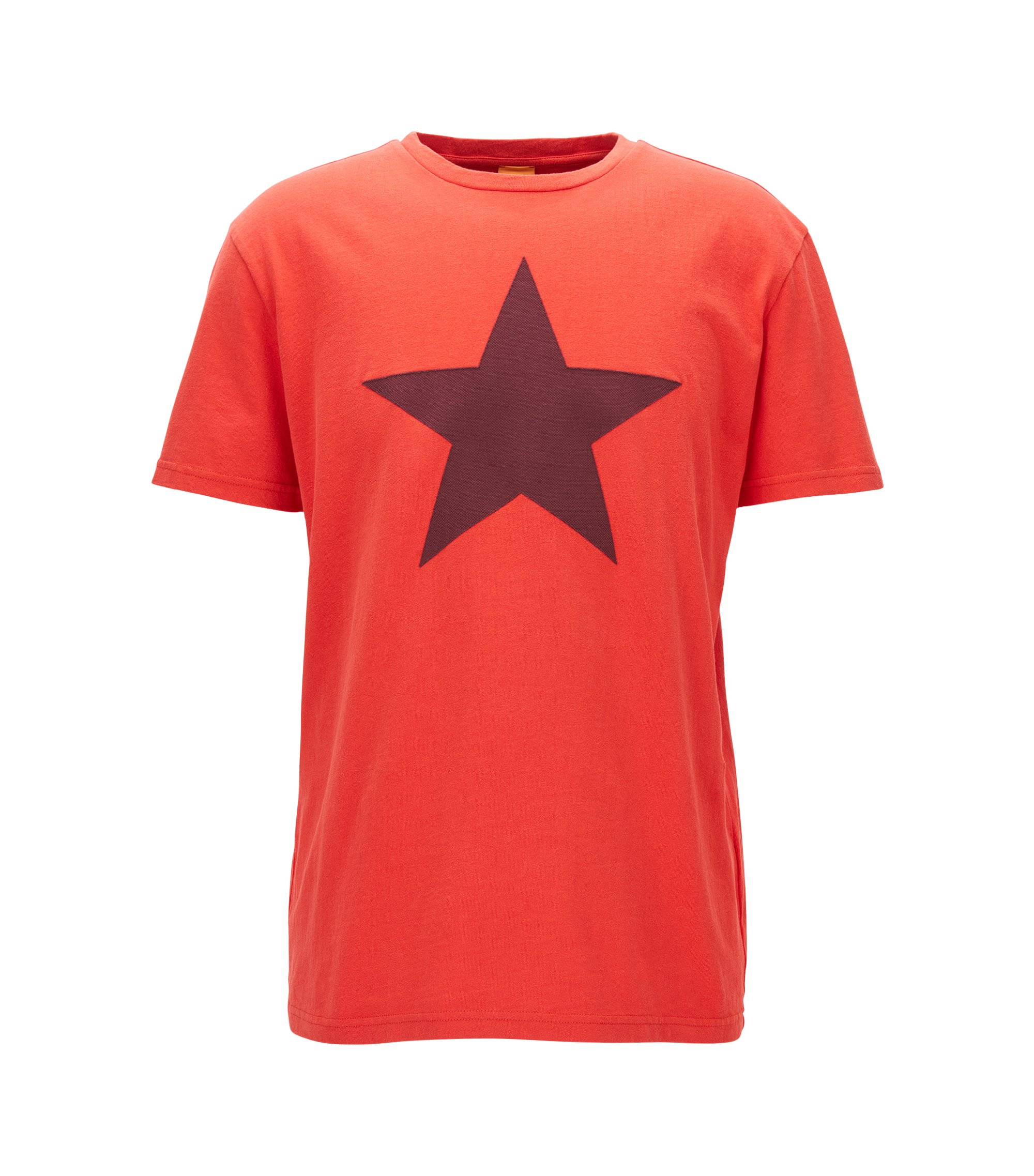 Relaxed-fit cotton T-shirt with applied star , Red