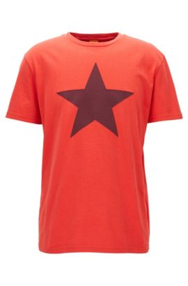 T-shirt relaxed fit in cotone con stella applicata , Rosso