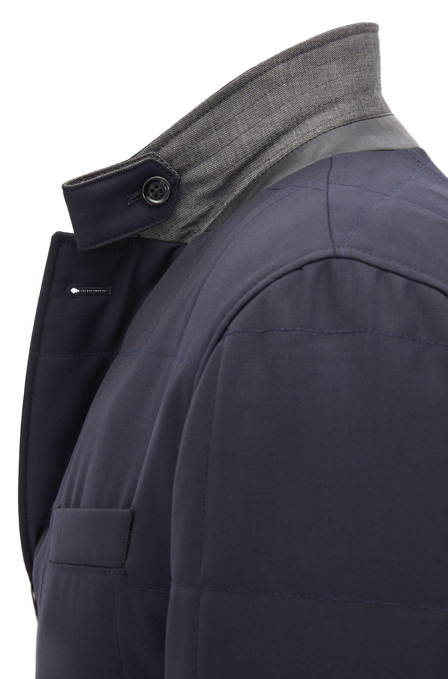 Slim-fit padded quilted jacket in melange virgin wool