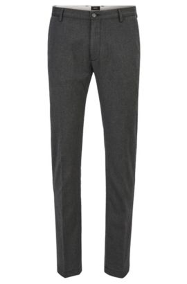 Slim-fit chino van stretch en tweezijdige wollen twill , Grijs