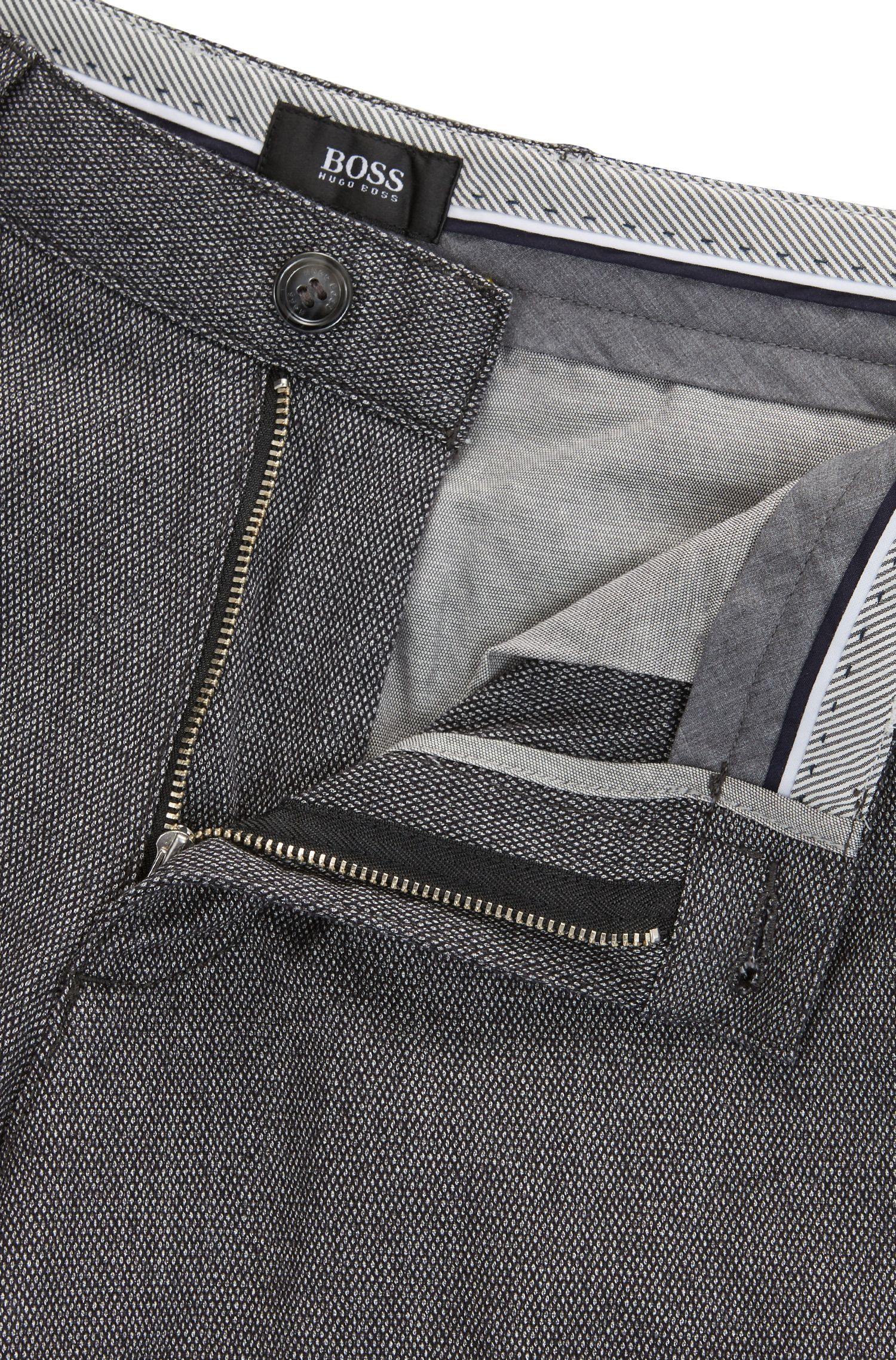 Regular-Fit Chino aus melierter Baumwolle