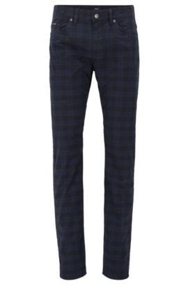 Karierte Slim-Fit Jeans aus elastischer Baumwolle, Dunkelblau