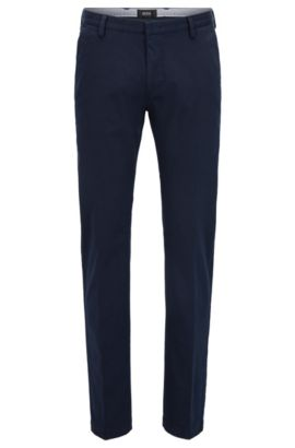 Chino Slim Fit en coton stretch, Bleu foncé