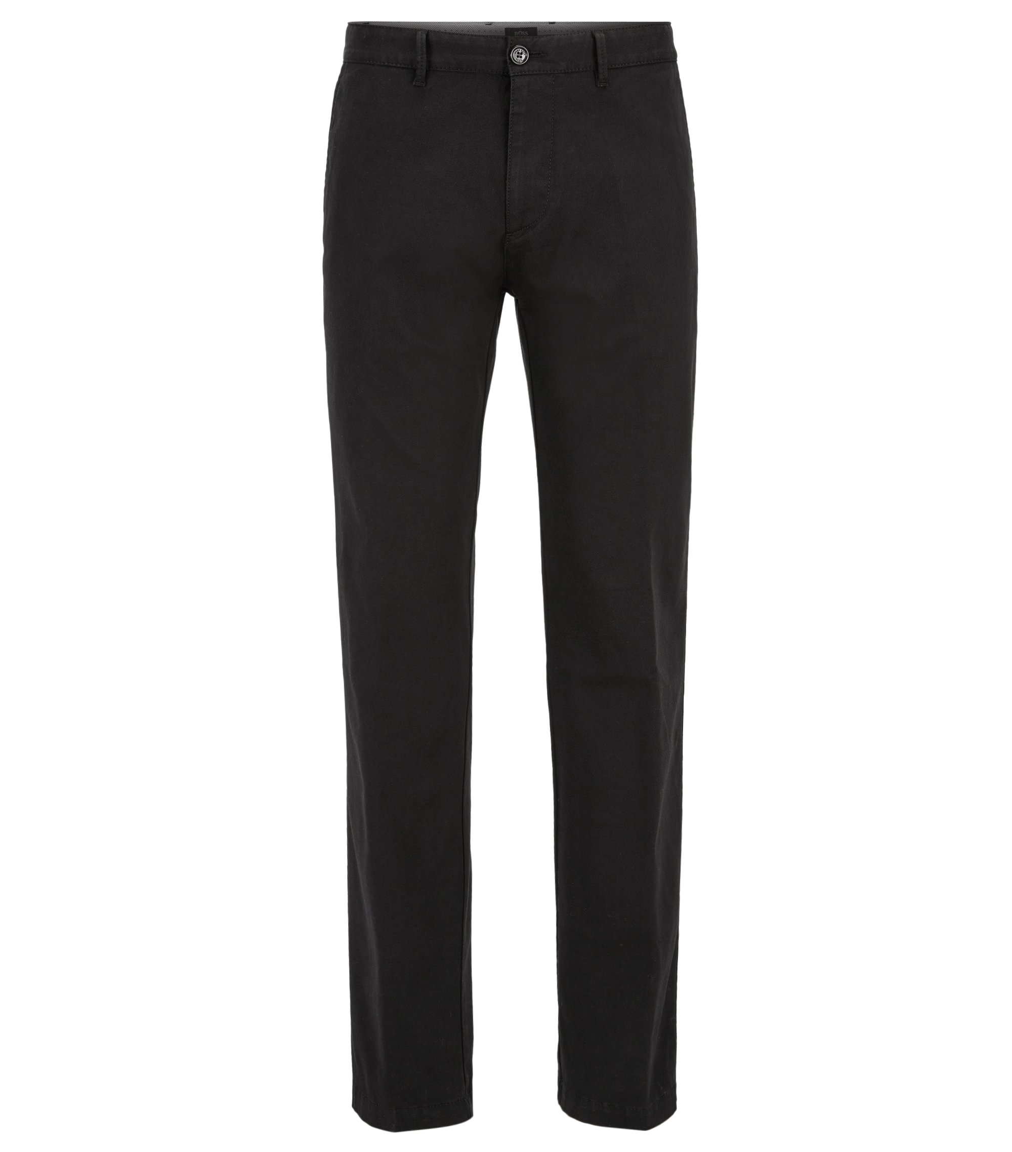 Chino Regular Fit en coton stretch, Noir
