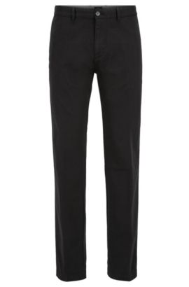 Regular-fit chinos in stretch cotton, Black