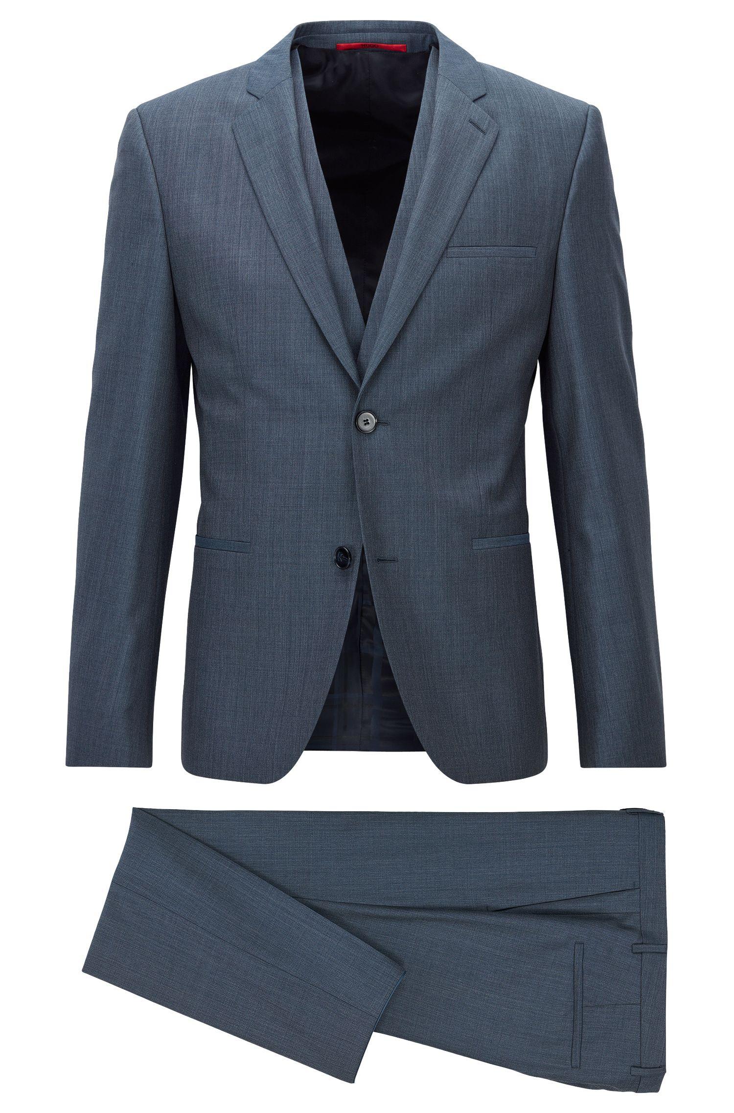 Micro twill extra-slim-fit three-piece suit in melange virgin wool