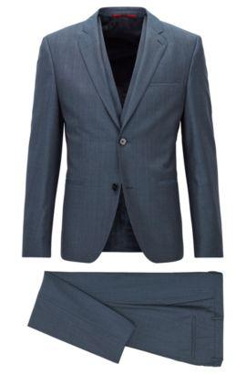 Extra Slim-Fit Dreiteiler aus melierter Schurwolle, Blau