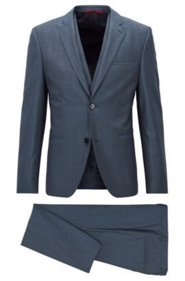 Micro twill extra-slim-fit three-piece suit in melange virgin wool, Open Blue