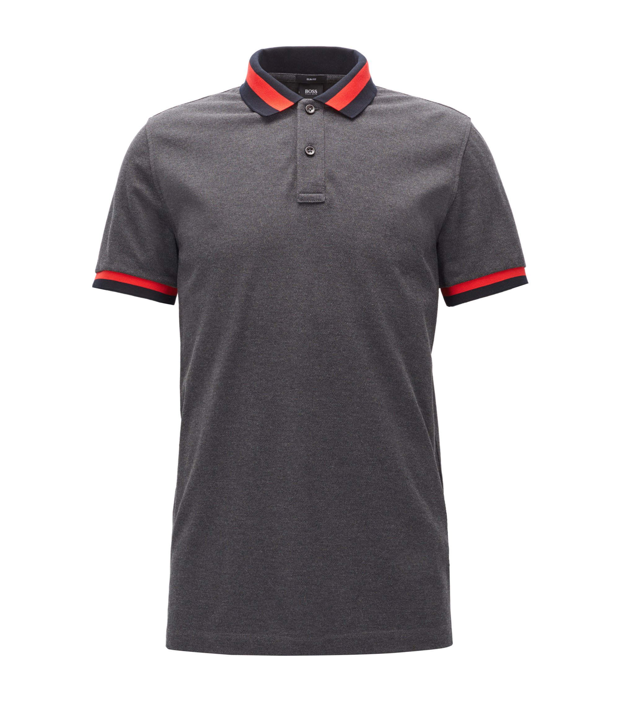 Polo Slim Fit en piqué de coton , Anthracite