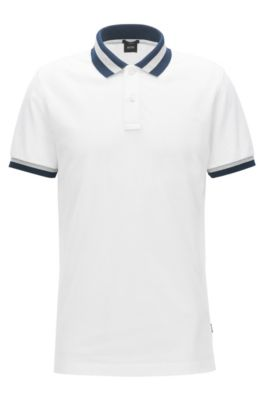 Polo Slim Fit en piqué de coton , Blanc