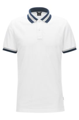 Slim-fit polo shirt in cotton piqué , White