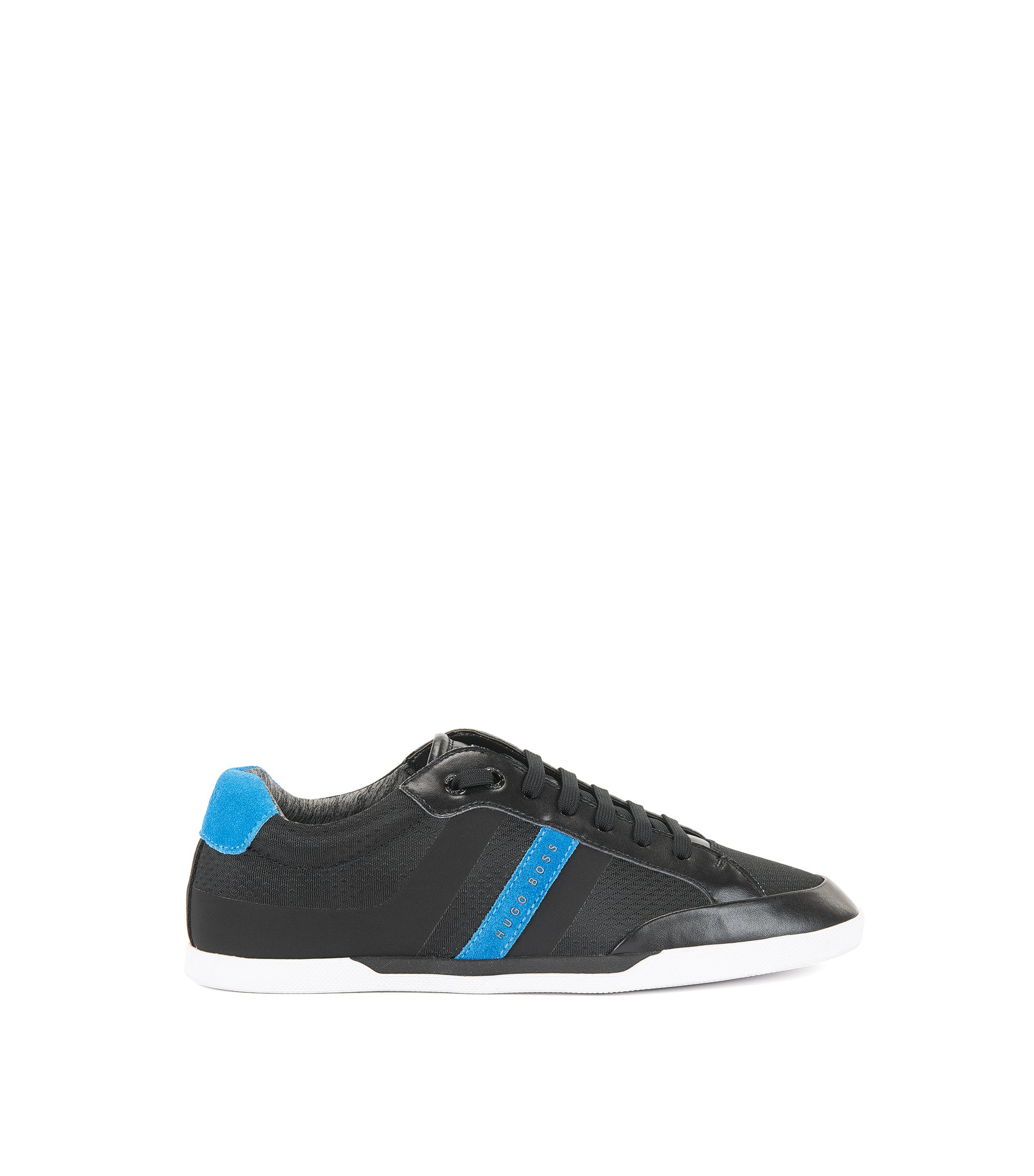Tennis-style trainers with suede overlays, Black
