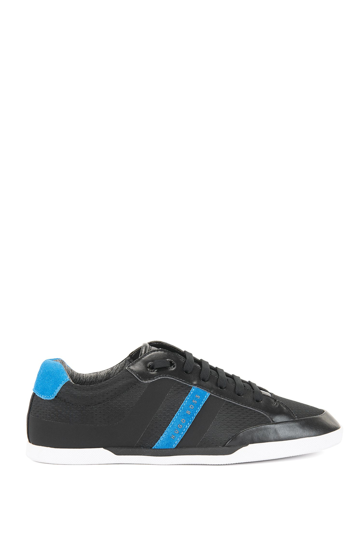 Tennis-style trainers with suede overlays