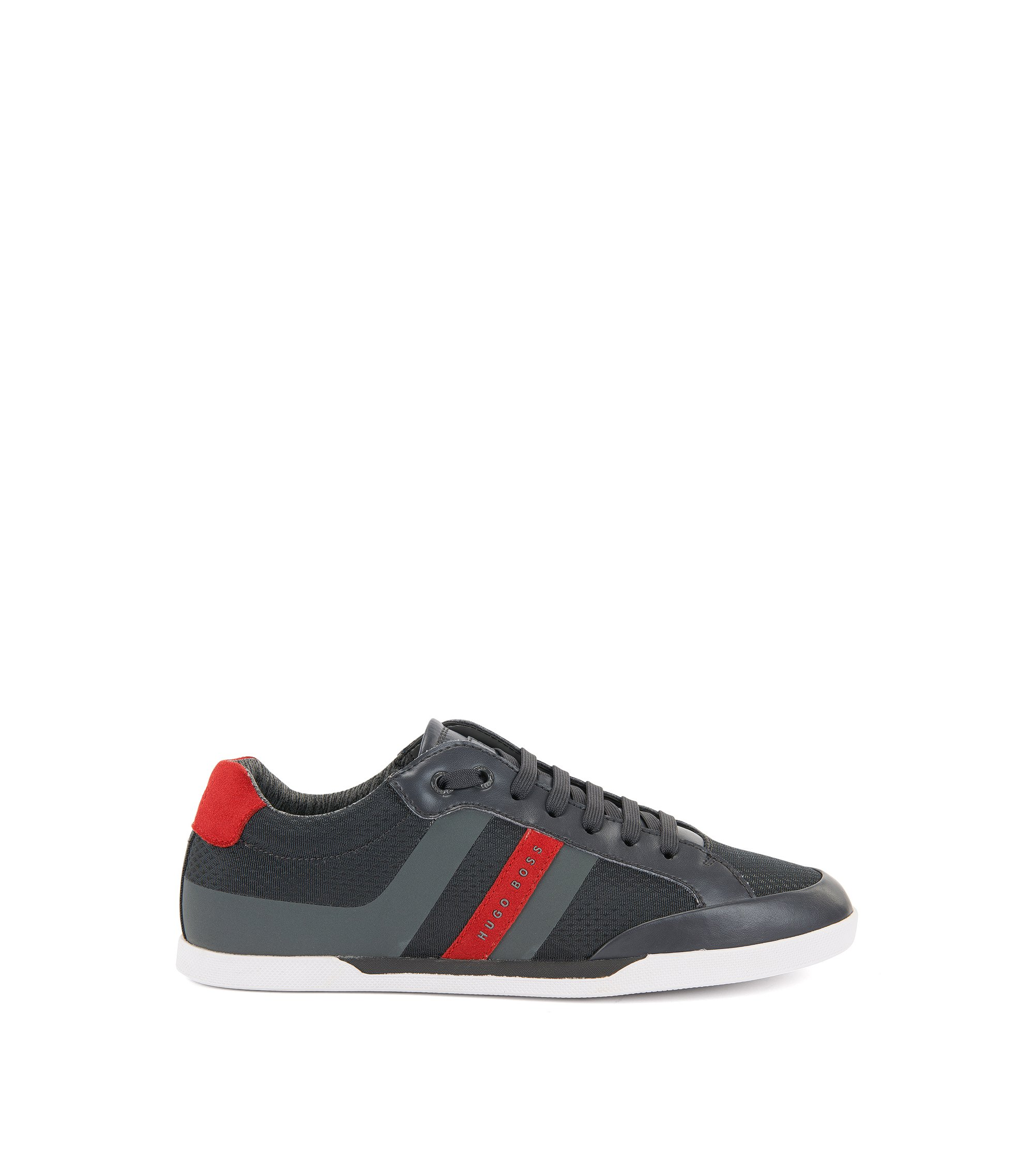 Tennis-style trainers with suede overlays, Dark Grey