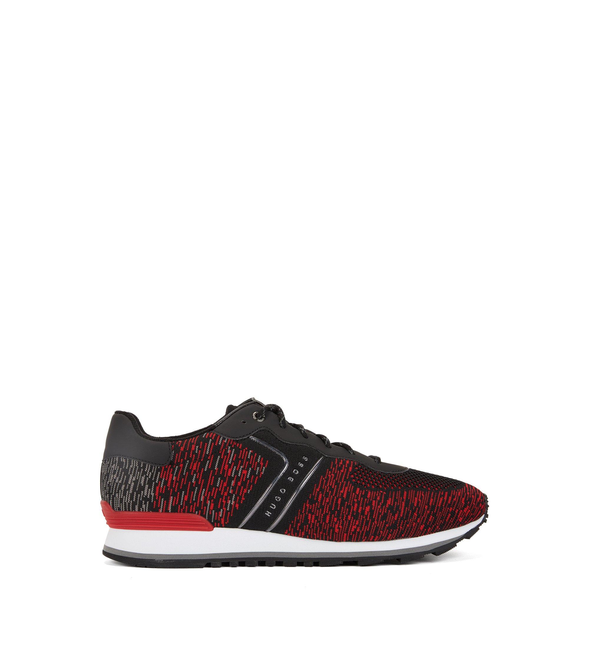 Sneakers low-top con tomaia in maglia, Rosso scuro