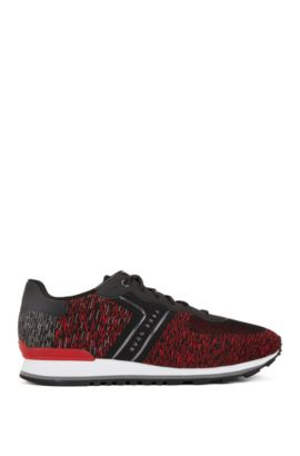 Low-top trainers with knitted uppers, Dark Red