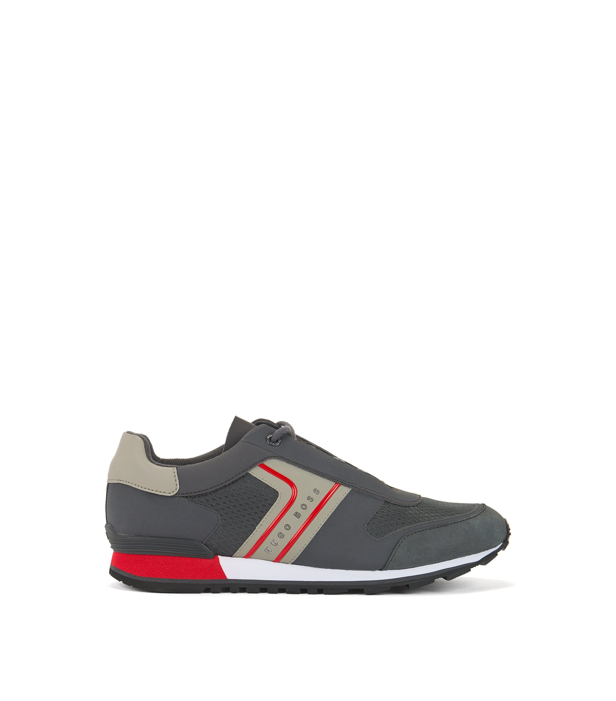 Retro-inspired trainers in mesh with nubuck details, Dark Grey