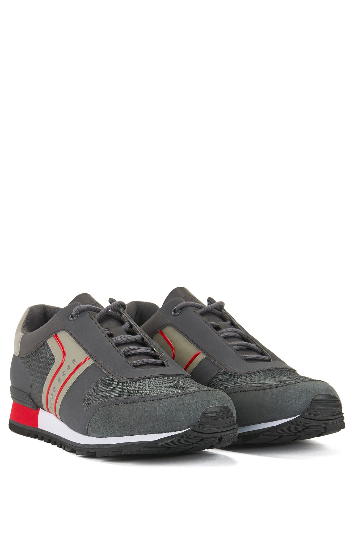 Sneakers in retro-look van mesh met nubuck accenten