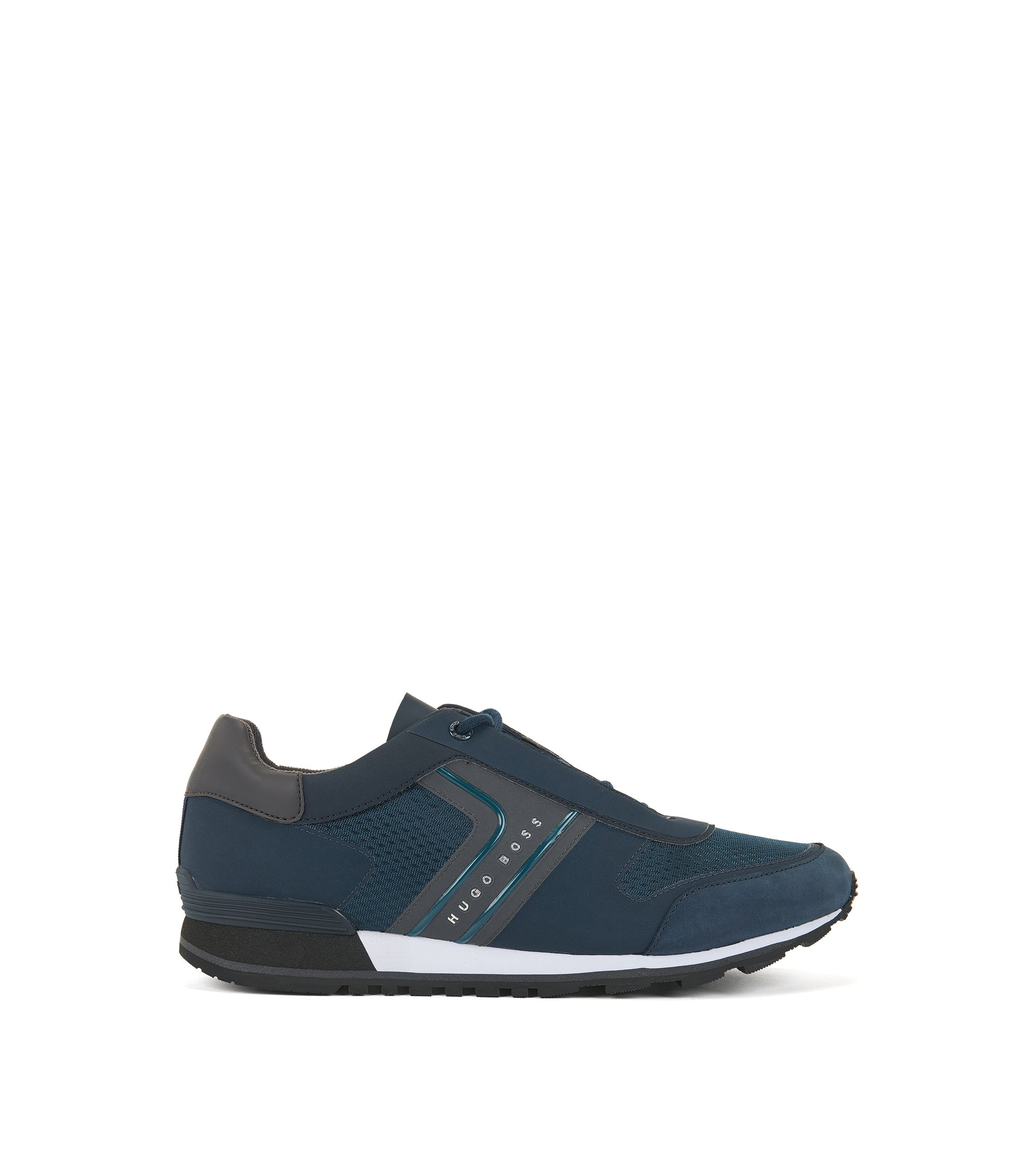 Retro-inspired trainers in mesh with nubuck details, Dark Blue