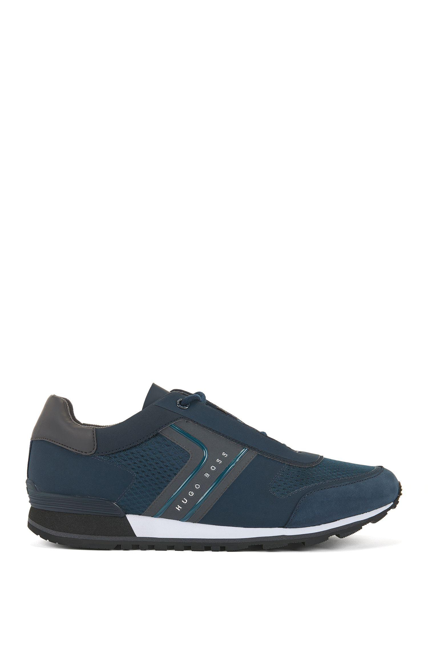 Sneakers aus Mesh mit Nubuk-Details