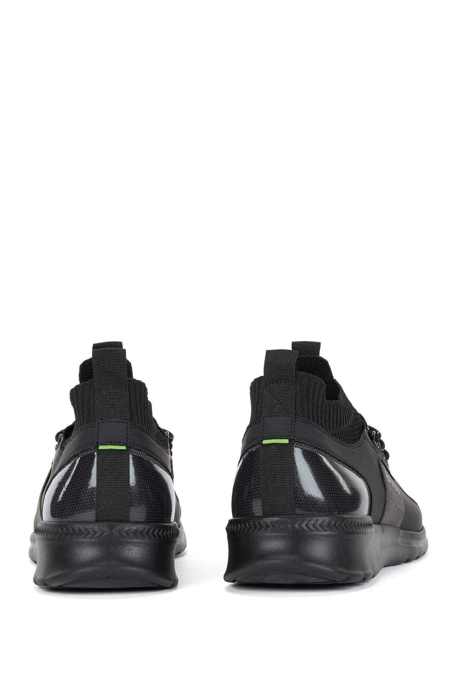 Sneakers aus Material-Mix mit Schnürung