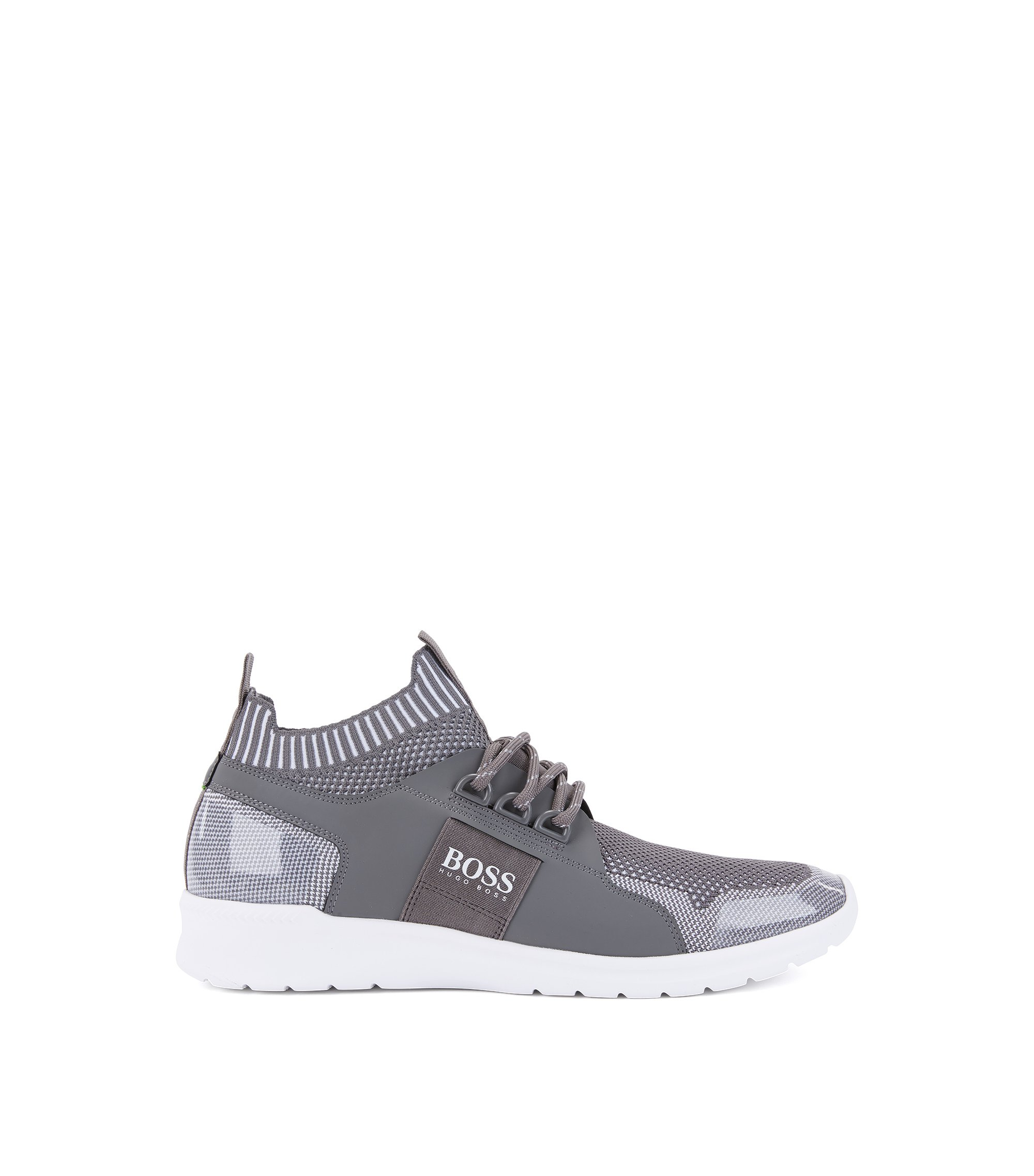 Lace-up trainers with knitted uppers, Light Grey