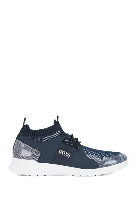Mid-top trainers with knitted uppers and transparent inserts, Dark Blue