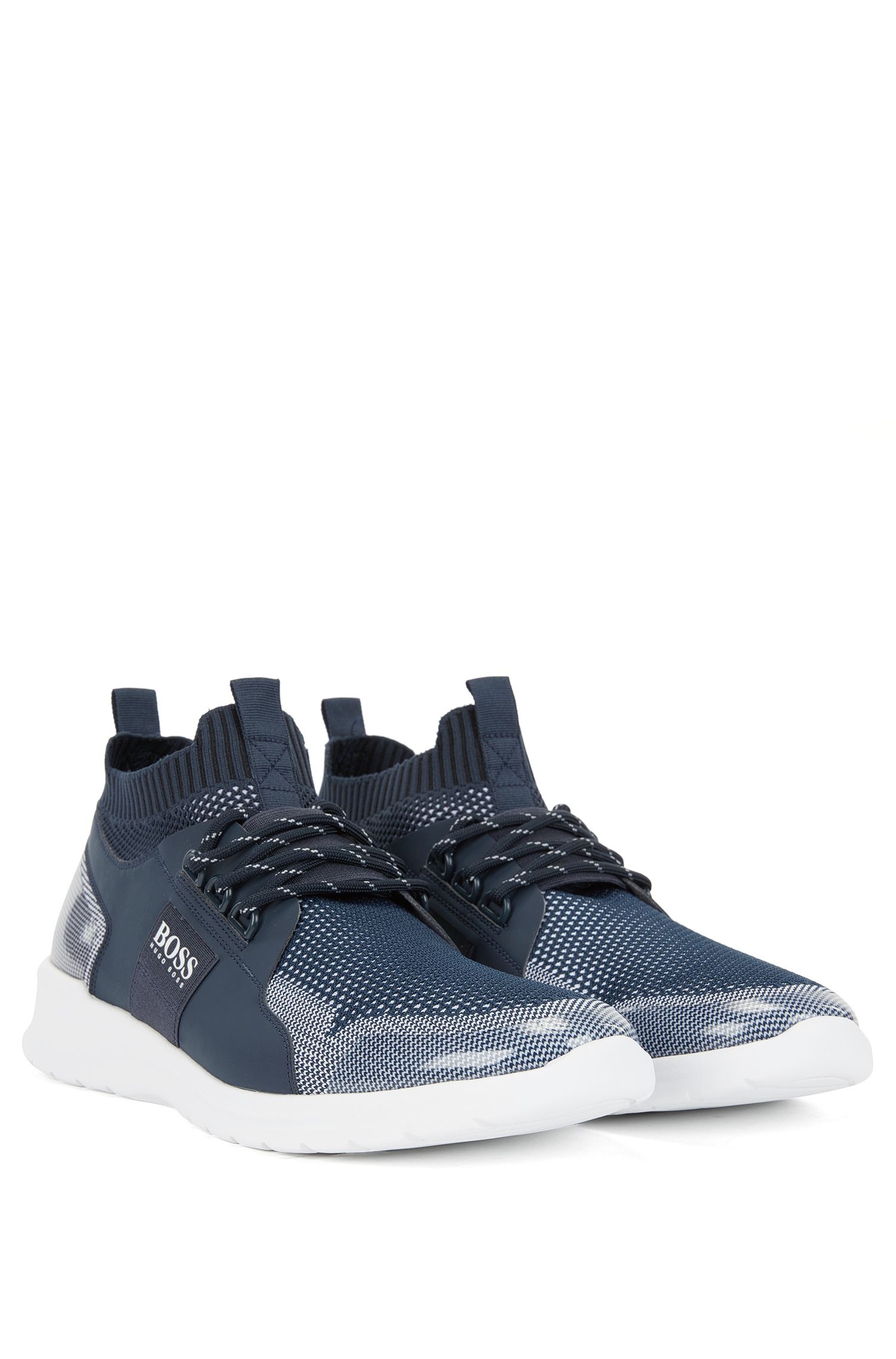 Sneakers stringate con tomaia in maglia, Blu scuro