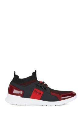 Vetersneakers met gebreide bovenzijde, Donkerrood