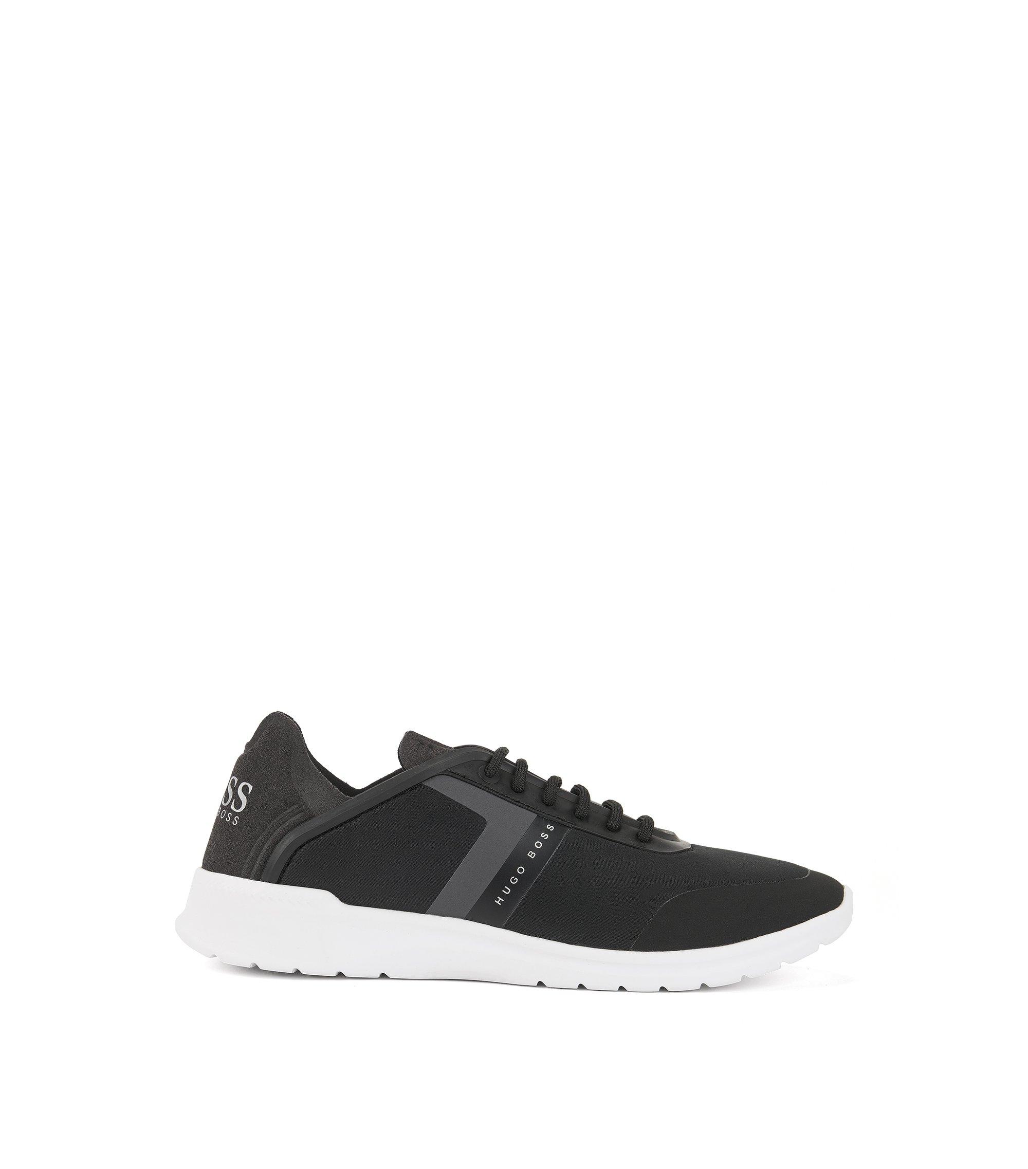 Sneakers low-top in neoprene e microfibra, Nero