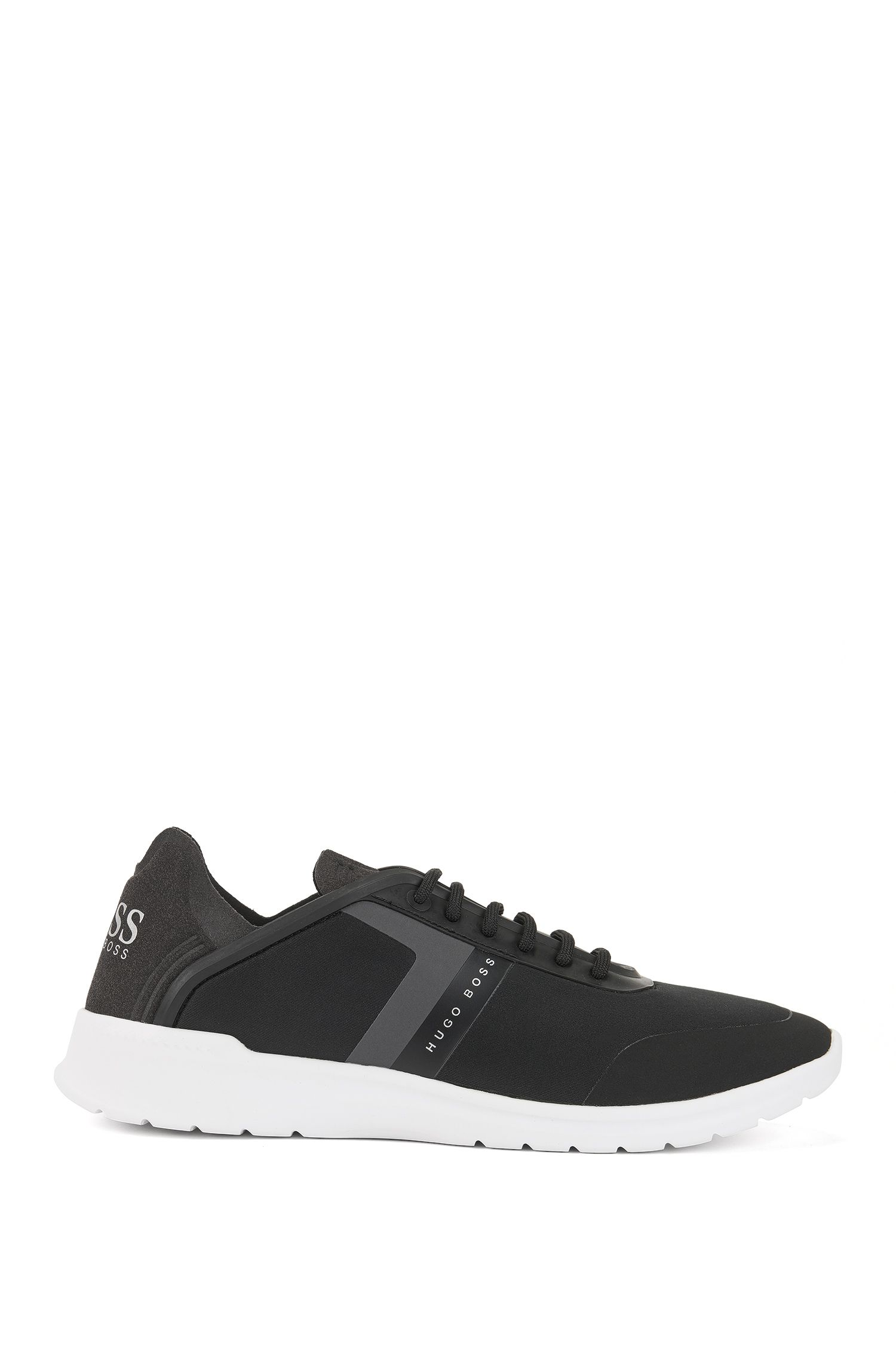 Low-top trainers in neoprene and microfibre