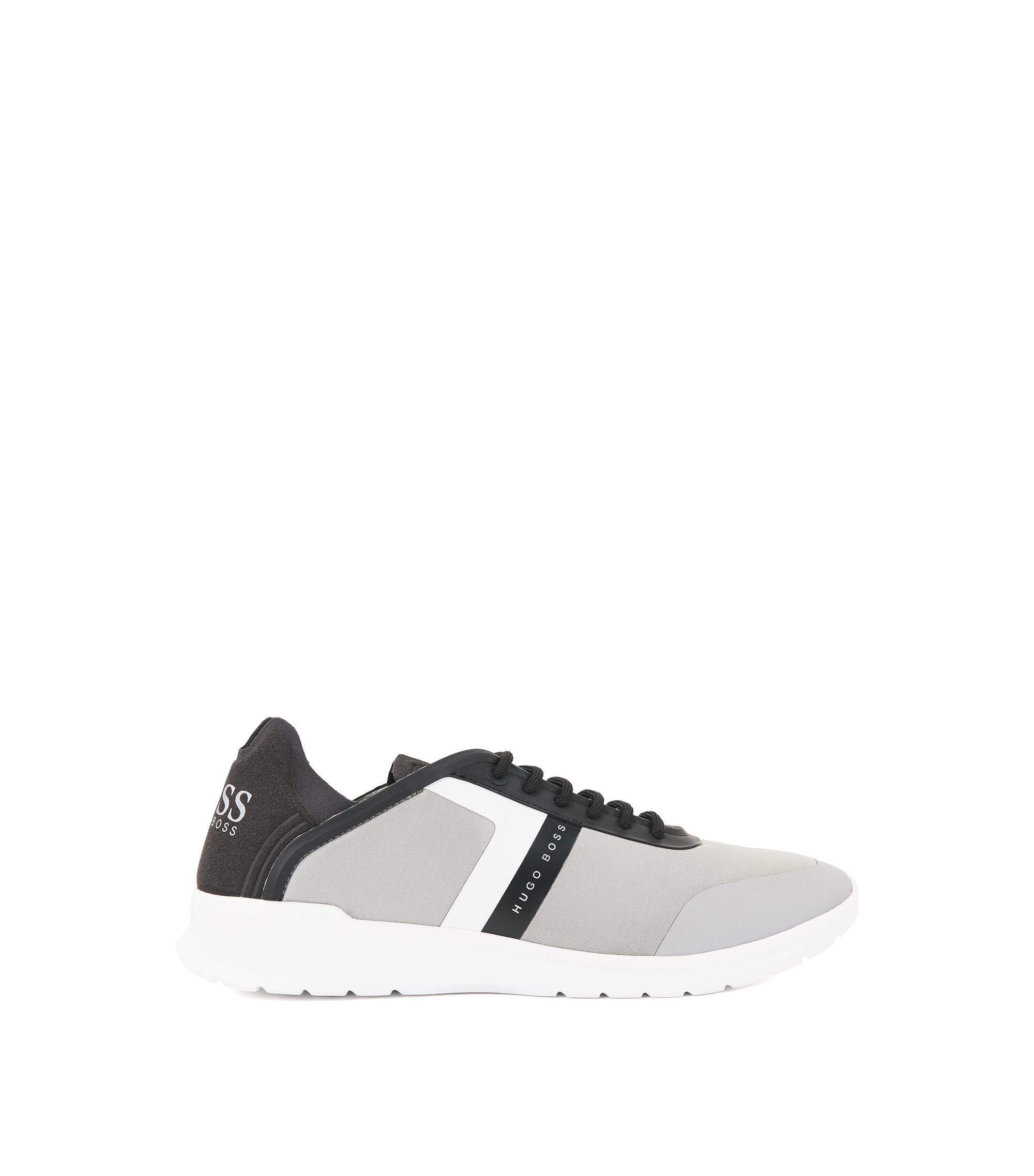 Low-top trainers in neoprene and microfibre, Light Grey