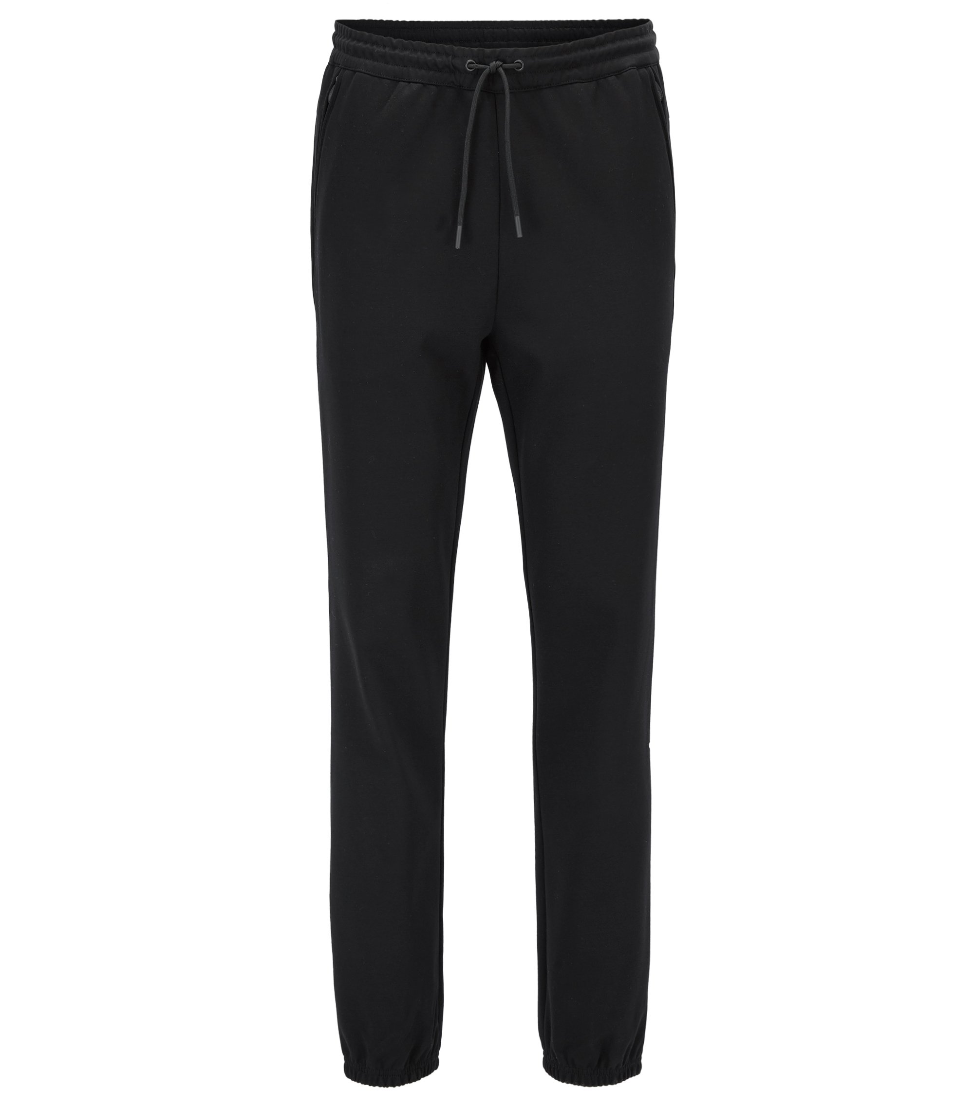 Water-repellent cotton-blend trousers in a slim fit, Black