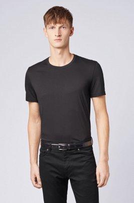 T-Shirt aus Baumwolle mit Rundhalsausschnitt und spezieller Waschung, Schwarz