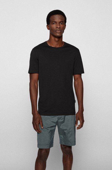 Crew-neck T-shirt in pure cotton with liquid finishing, Black