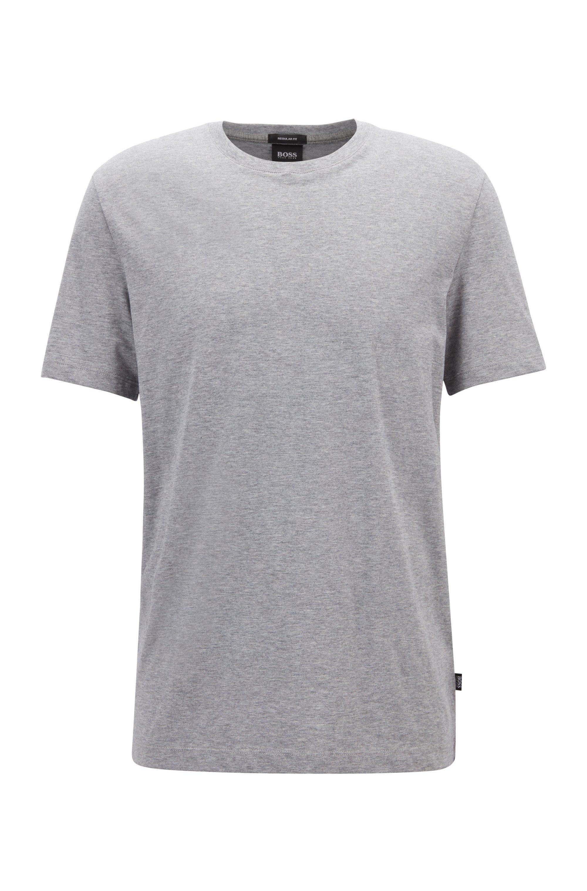 T-shirt à col rond en coton pur à la finition fluide, Argent