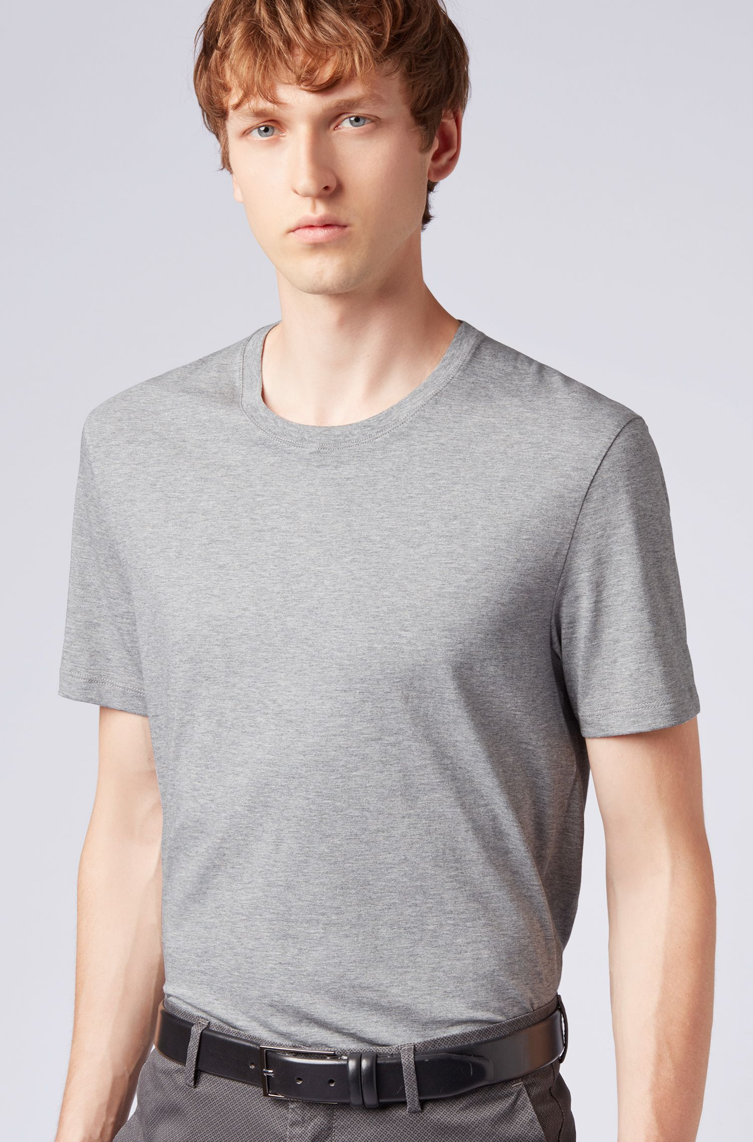 Regular-fit T-shirt van zachte katoen, Zilver