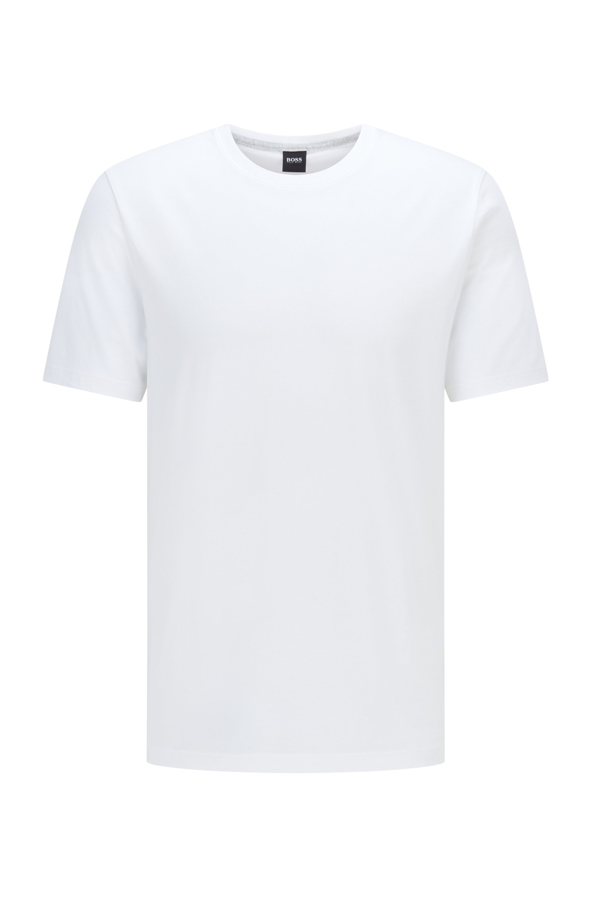 Crew-neck T-shirt in pure cotton with liquid finishing, White