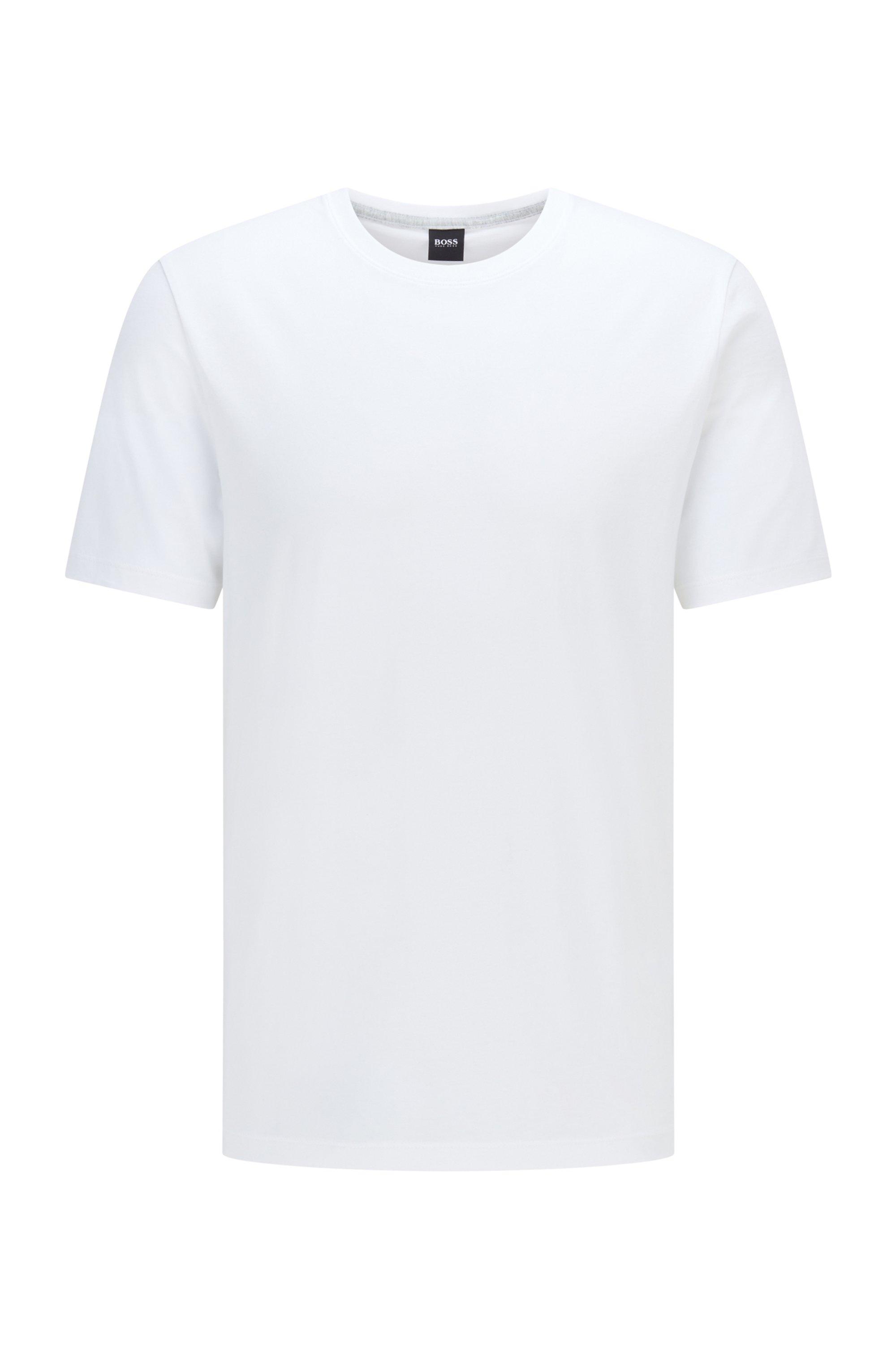 T-shirt van zuivere, vloeiend afgewerkte katoen met ronde hals, Wit